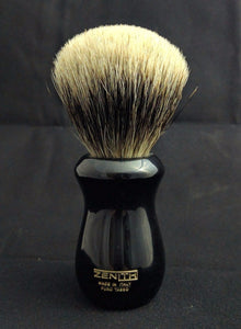 Black Resin Manchurian Badger Shaving Brush 25x51mm by Zenith. M7