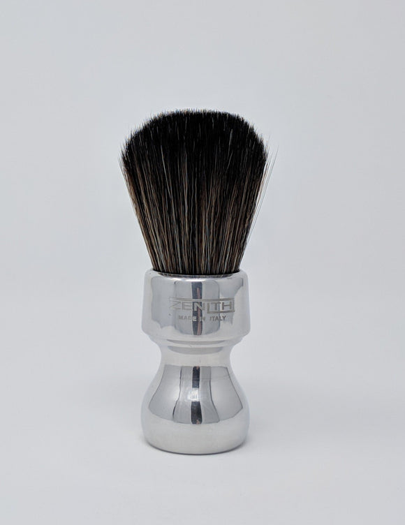 Short Retro Aluminum Shaving Brush with Black Synthetic Knot. Zenith 27.5mm N5