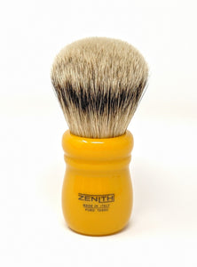 Butterscotch Chubby - Large Knot Silvertip Brush by Zenith Made In Italy P19