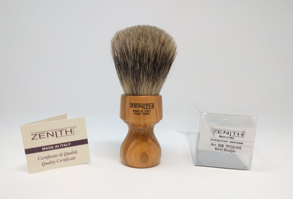Zenith Olive Wood Best Badger Shave Brush. 27.5 mm. Made in Italy. T6