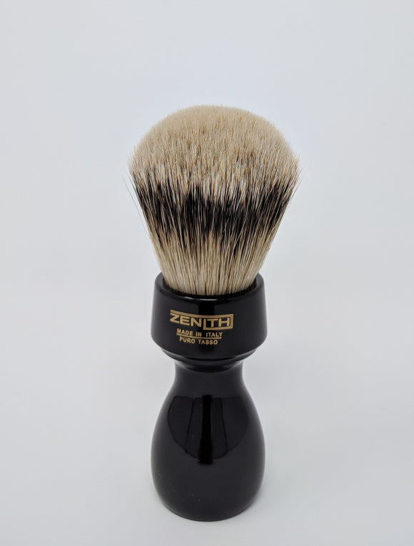 Retro Resin Silvertip Badger Brush by Zenith. 27.5x51 mm. Black P16