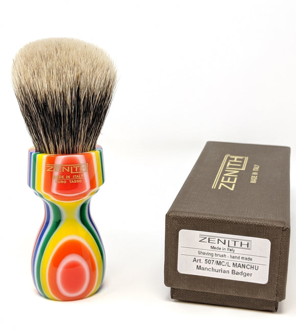 Tall Multicolored Zenith Manchurian Brush. 27.5x51mm. 2-Band Badger. Italy M22