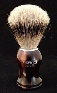 Plastic Tortoise Silvertip Shave Brush by Zenith. 21mm. P8