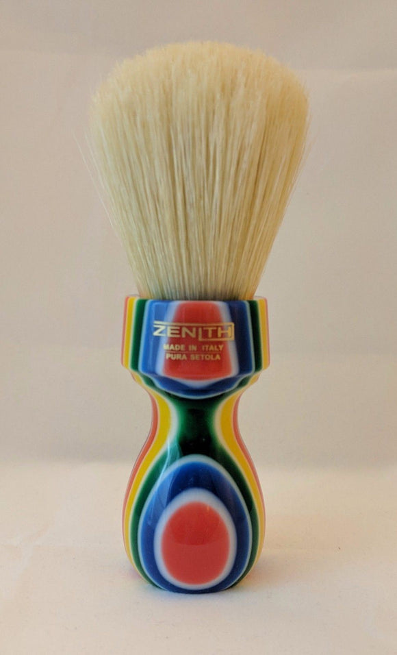 Retro Multicolored Resin Boar Shave Brush by Zenith B26