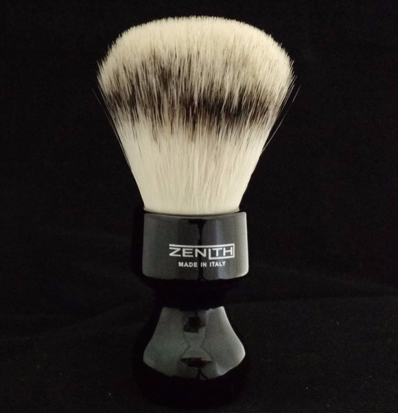 Zenith Resin Handle XL Synthetic Black Shave Brush. 27.5mm. Made in Sicily. S3
