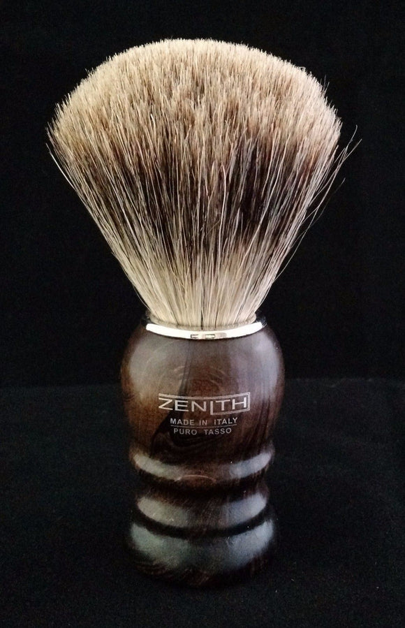 Zenith Walnut Best Badger Shave Brush. Small 22mm T1