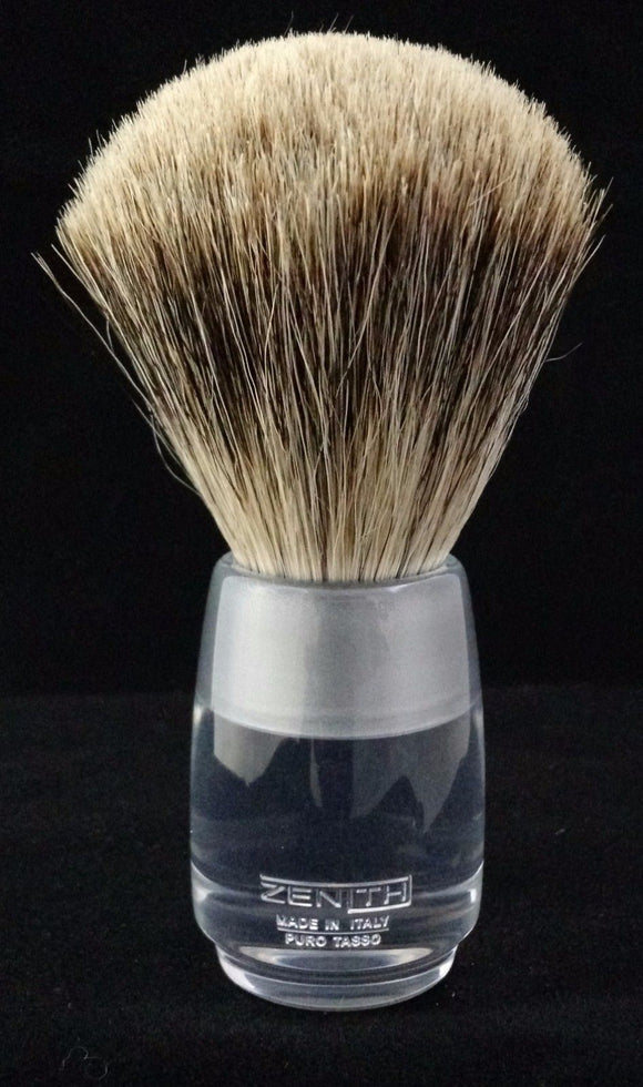 Zenith Clear Resin Handle Best Badger Shave Brush. 24.5mm Knot. T2