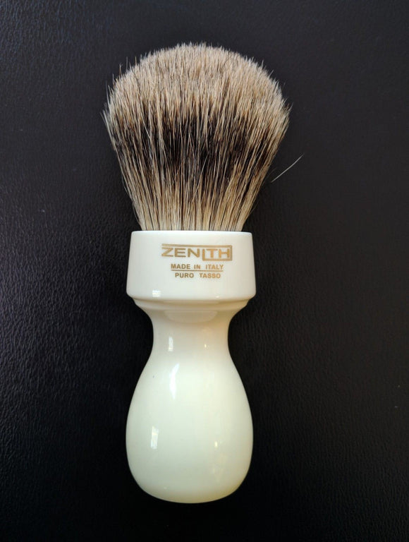 Zenith Retro Resin XL Best Badger Ivory Shave Brush. 27mm. T9