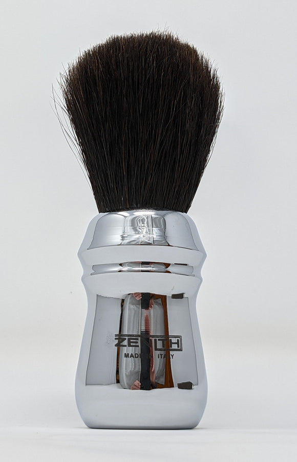 Extra Soft Horse Shave Brush by Zenith. Chromed Handle. Made In Italy E6