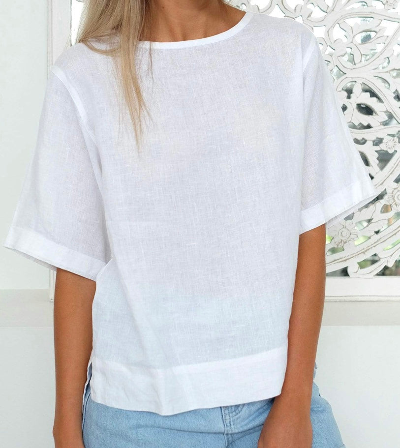 Boxy Linen Tee by Assembly Label
