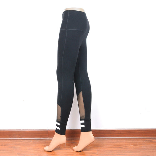 Black Mesh Sport Leggings with with ankle stripes