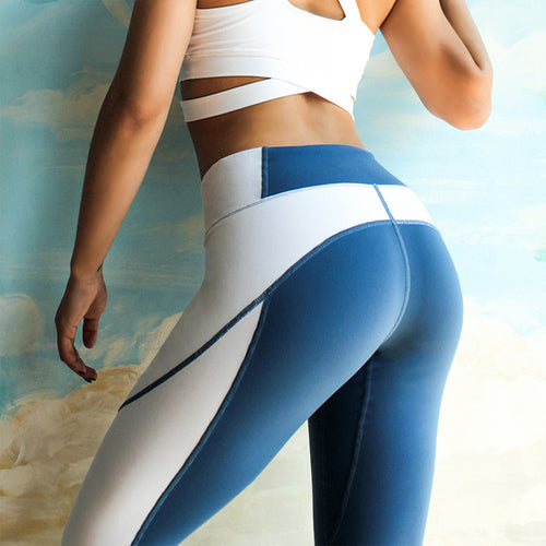 Blue and White Patchwork Legging - FitnessAmazons.ca