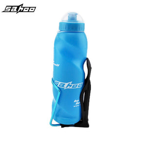 700ml Water Bottle Blue + Aluminum Holder Cages Mounte Blue