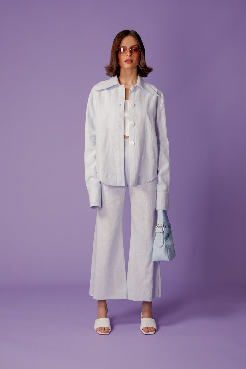 chemise pastel blue en lin - the gardener uniform