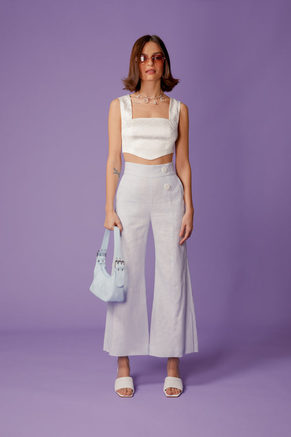pantalon pastel blue en lin - the gardener uniform