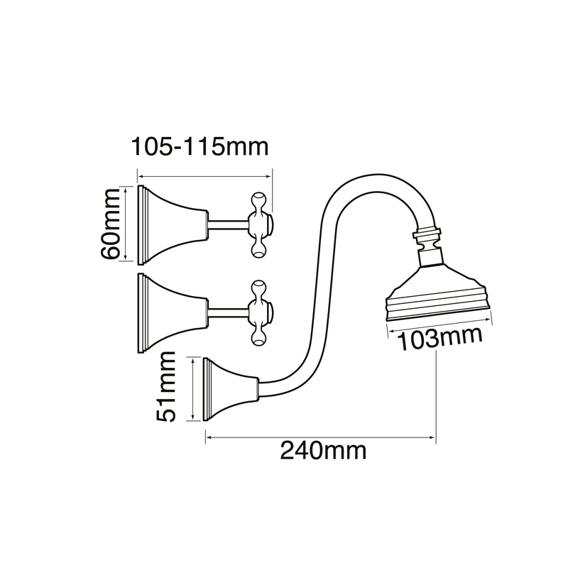 Bastow Georgian Fixed Gooseneck Shower Set