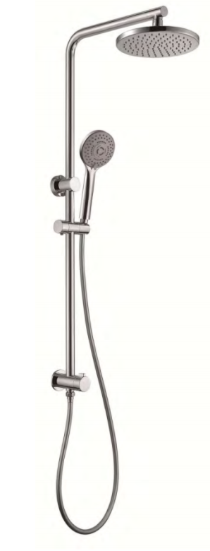 5100ES Giovanni Rail Shower with Overhead Matte Black & Satin Nickel