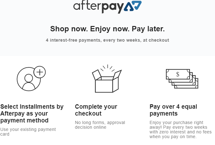 Afterpay Installment Program at Pink Pewter