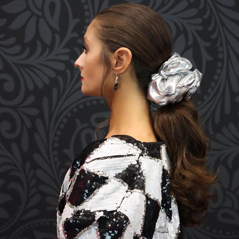 """Pink Pewter Faux Leather """"Oversized"""" Plush Scrunchie Disco Queen"""