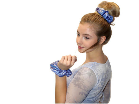 Pink Pewter Silky and Smooth Metallic Dots Scrunchie (Aqua Marine)