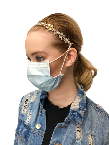 Pink Pewter Detachable Headbands used to Secure Face Mask
