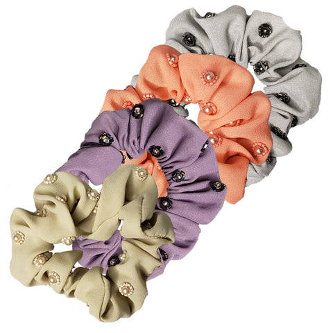 Pink Pewter Light Fabric Scrunchies