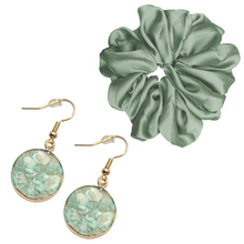 Slivered Mint Earring Set and Oversized Scrunchie