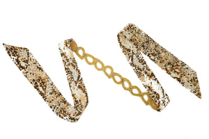 Miss Maison - Ribbon Head Wrap / Belt (Snake / Gold)