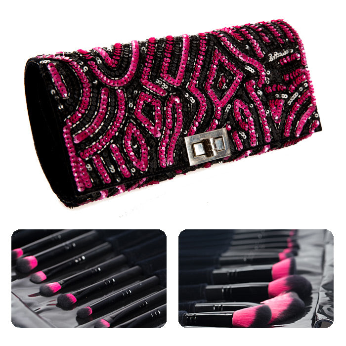 13 Piece Makeup Brush Kit with Jeweled Case