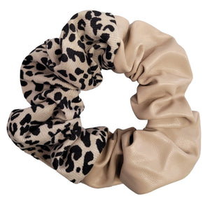 Double Trouble Faux Leather and Fabric Scrunchie (Cream)