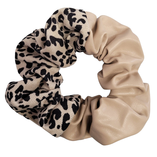 Double Trouble Faux Leather and Fabric Scrunchie (Cream) 1