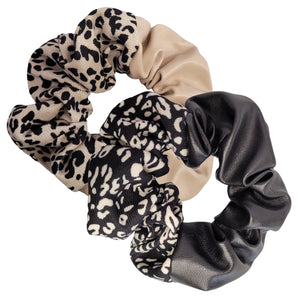 Double Trouble Faux Leather and Fabric Scrunchie  - Rebel Pack (2pc)