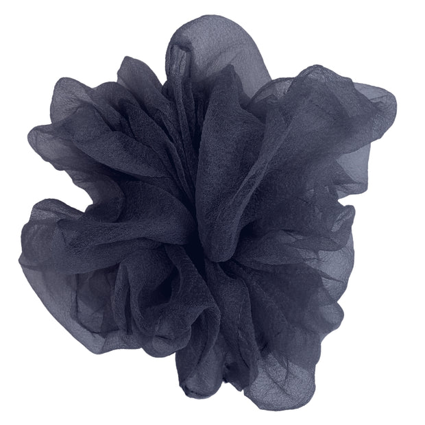 """Luxe """"Oversized"""" Sheer and Delicate Scrunchie (Navy) 1"""