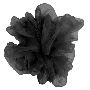 "Luxe ""Oversized"" Sheer and Delicate Scrunchie (Black)"