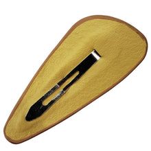 Faux Leather Petal Snap Clip (Saddle)