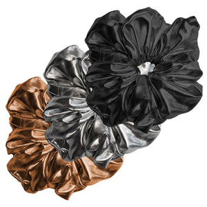 "Faux Leather ""Oversized"" Plush Scrunchie Disco Queen Pack (3pc)"