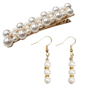 Delightfully Pearl Hair Clip and Earring Set (3pc)