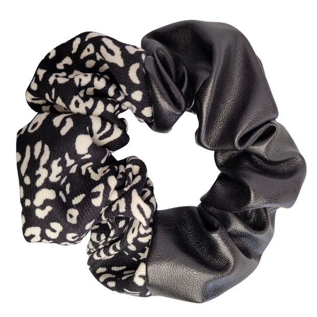 Double Trouble Faux Leather and Fabric Scrunchie (Black) 1