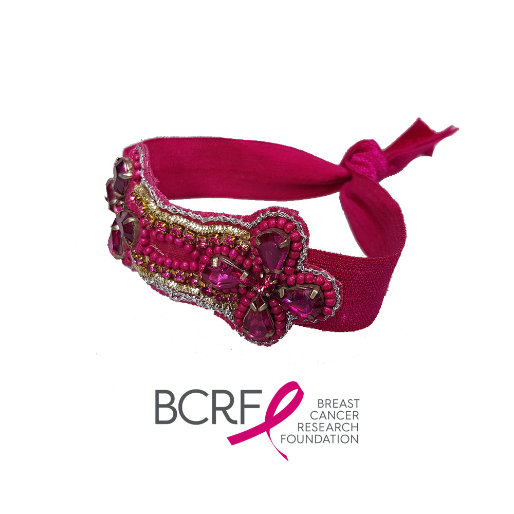 Breast Cancer Pink Pewter Hair Tie / Bracelet (Pink)
