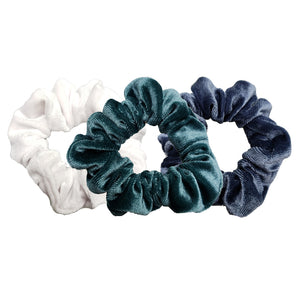 Luxe Velvet Scrunchie 3-Pack (Blue Coconut)