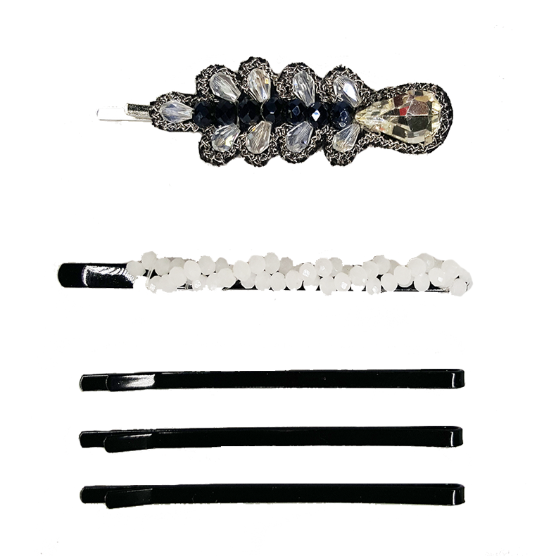 Thin Leaf - Bobby Pin Set - 5pc (White / Black / Silver)