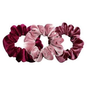 Luxe Velvet Scrunchie 3-Pack (Cherry Berry)