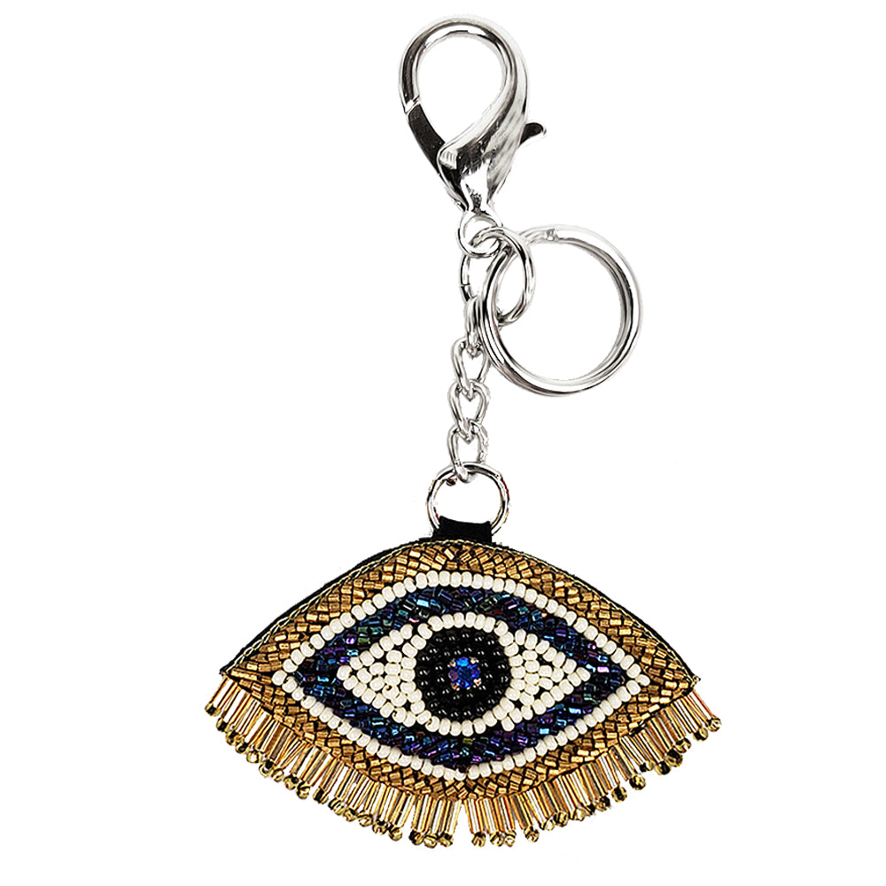 Embroidered Keychain Ornament with Clasp (Evil Eye)