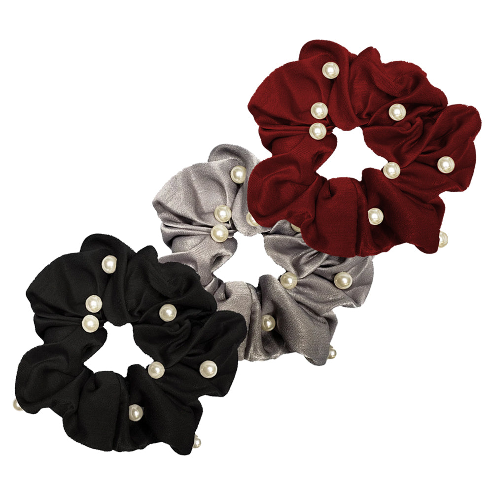 Flashy Pearl and Satin Scrunchie - 3pcs (Groovy Pack)