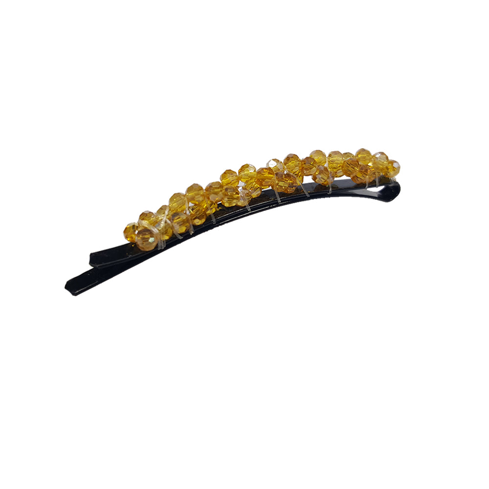 Bobbi - Beaded Rounded Bobby Pin (Gold / Tan)