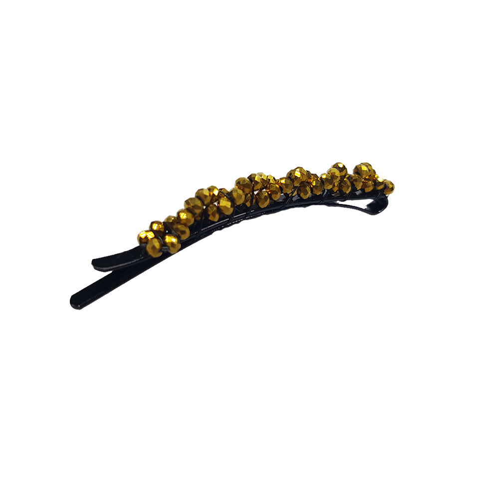 Bobbi - Beaded Rounded Bobby Pin (Gold)