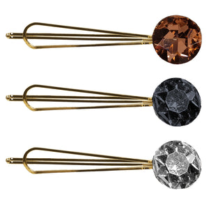 Bursting Crystal Rounded Metal Bobby Pin (Harvest 3-Pack)