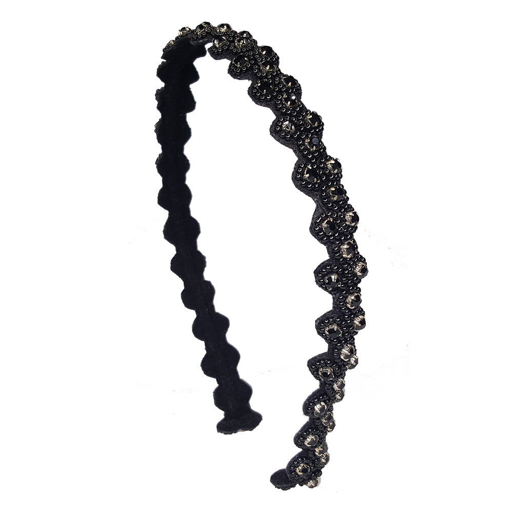 Blair - Embroidered Hard Headband (Black)