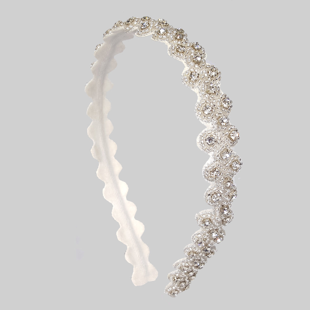 Blair - Embroidered Hard Headband (Silver)