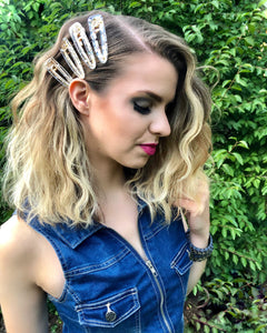 Twinkle - Metal Hair Clip  (Gold Flakes)
